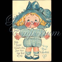 Antique Valentine Postcard with Polly Pigtails