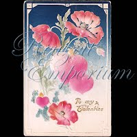 Antique Valentine Postcard with poppies