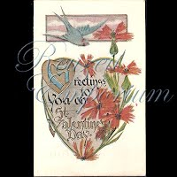 Antique Valentine Postcard with birds, hearts, flowers