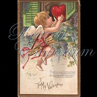 Antique Valentine Postcard with cupid, hearts, flowers