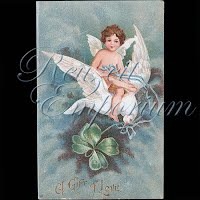 Antique Valentine Postcard with dove, cupid
