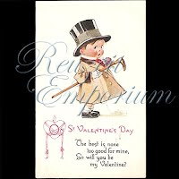 Antique Valentine Postcard child with top hat and cane