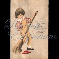 Antique Gibson Valentine Postcard boy with broom