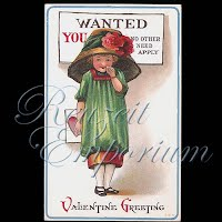 Antique Valentine Postcard with little girl
