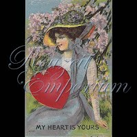 Antique Valentine Postcard with pretty lady, hearts, flowers