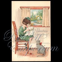 Antique Valentine Postcard girl with cat