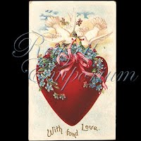 Antique Valentine Postcard with hearts, flowers