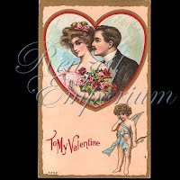 Antique Valentine Postcard couple with heart, flowers