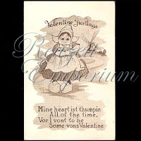 Antique Valentine Postcard with little Dutch girl