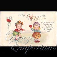 Antique Valentine Postcard with babies