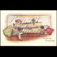 Antique Valentine Postcard with girl, cupid, car