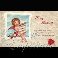 Antique Valentine Postcard with cupid holding sheet music