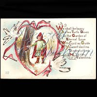 Antique Valentine Postcard with Little Red Riding Hood, glitter