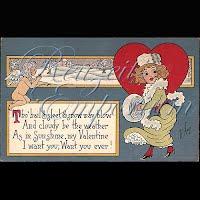 Antique Bishop Valentine Postcard with lady, cherub