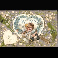 Antique Valentine Postcard with Lilies of the Valley, couple