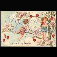 Antique Valentine Postcard with cherubs, heart, flowers