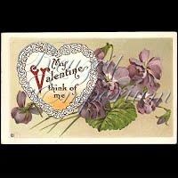 Antique Valentine Postcard with violets