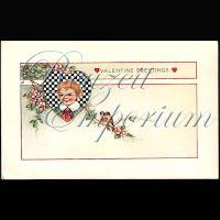 Antique Valentine Postcard with child, heart, birds