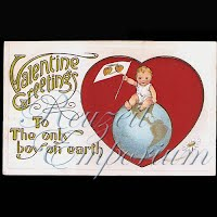 Antique Valentine Postcard with baby on earth