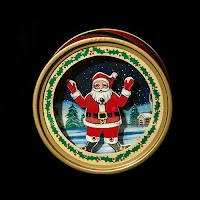 Vintage Christmas Musical Dancing Paper Santa Figurine, plays Santa Claus is Coming to Town