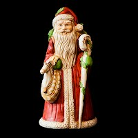 Vintage Christmas Bisque Porcelain Music Box Santa, plays O Tannenbaum
