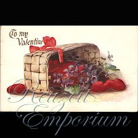 Antique Valentine Postcard with basket of hearts and flowers