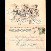 Antique Valentine Postcard with dancing ladies, undivided back