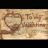 Antique Valentine Postcard with wood burned heart