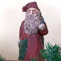 Vintage Christmas Mr. Santa Figurine, hand painted Poly Stone Collectible