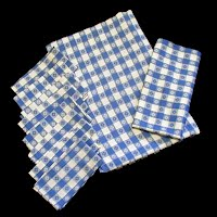 Vintage Blue and White Tablecloth with 8 Napkins, 1960's
