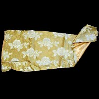 Vintage Silk Fabric with White Flowers, Silk  Lining