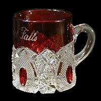 Antique EAPG Ruby Stained New Hampshire Glass Mug, Souvenir International Falls, US Glass Co