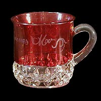 Antique EAPG Souvenir Ruby Stained Sunken Honeycomb or Corona Mug, 1894 Greensburg Glass Co or McKee Glass Co