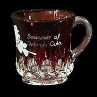 Antique EAPG Souvenir Ruby Stained Arched Ovals Mug, 1905-1919 US Glass Co