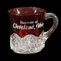 EAPG Antique Souvenir Ruby Stained Heart Band Mug, 1897 McKee and Brothers