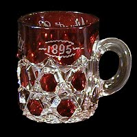 EAPG Antique Souvenir Ruby Stained Big Button Mug, 1892