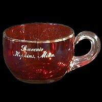 Antique EAPG Souvenir Ruby Stained OKAY Tiny Mug, 1905 US Glass Co