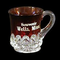 Antique EAPG Souvenir Ruby Stained Arched Oval Tiny Mug, 1905 US Glass Co
