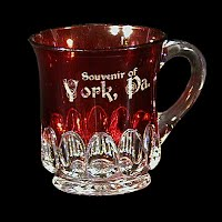 Antique EAPG Ruby Stained Arched Oval Souvenir Mug, York Pa, 1905 US Glass