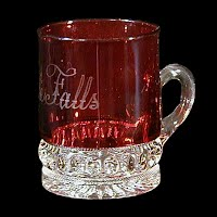 Antique EAPG Ruby Stained Punty Band Souvenir Mug, Little Falls, 1896-1910 Heisey Glass Co