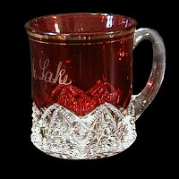 Antique EAPG Souvenir Ruby Stained Button Arches Mug, 1897-1920 Duncan and Miller Co