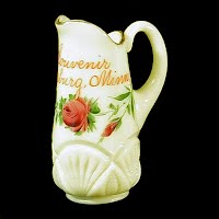 Antique EAPG Pineapple and Fan Custard Glass Cream Pitcher, 1900 Heisey Glass Co