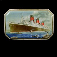 Antique Tin Benson Candy Container, Queen Mary, 1940