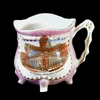 Antique Pink Luster Souvenir Porcelain Cup, made in Germany