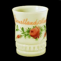 EAPG Antique Souvenir Custard Glass Punty Band Tumbler, 1896-1910 Heisey Glass Co