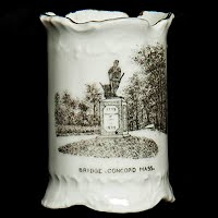 Antique Porcelain Toothpick Holder, Souvenir Lexington Monument