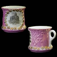 Antique Public Library, Sioux City, Iowa pink luster cup