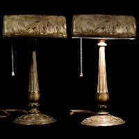 Antique Bankers Metal Lamp with pine needle etching on shade