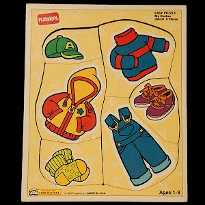 Vintage Playskool 1992 My Clothes Children Wooden Puzzle