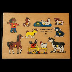 Vintage Fisher Price Wooden Farm Animals 1979 Puzzle
